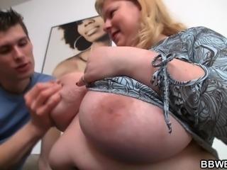 Busty fat ass plumper rides stranger's cock
