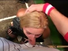 Busty Baseball Bitch Deepthroats Cock