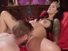 Divine Fertility: Pregnant woman dominates slave boy!
