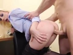 Naughty secretary in stockings Roxy Nicole is having dirty sex with her boss