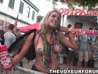 Body painted babes showing some skin off at a parade