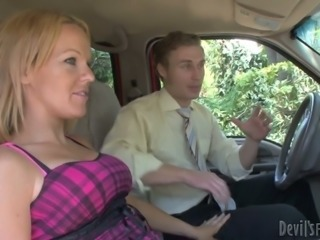 Two horny guys pick up blonde chick and seduce her for MMF threesome