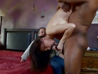 Whore wife cheating her husband with hot tempered black stud