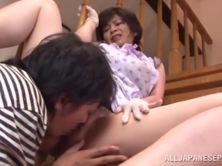 Mature Japanese bitch gets her cunt licked and fucked deep