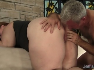 Plumper redhead cougar has a dirty old man satisfying her sexual needs