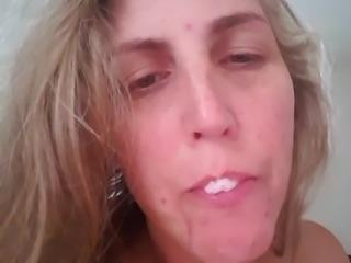 Felicia eating her own cum