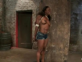 Muscled and steroided ebony Ashley Star is being tortured