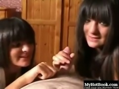 Sassy and young brunette skank twins sharing my dick on cam