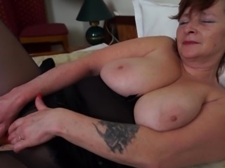Massive natural mature tits look amazing as she plays solo