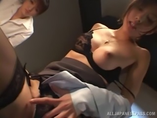 Two slutty Japanese bitches in stockings getting rammed