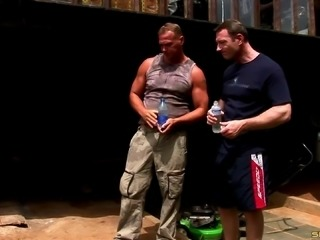 Muscular men double penetrate this slutty girl outdoors