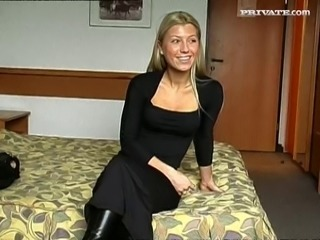 Blonde in hotel room casting fuck and screwing on the ski slopes