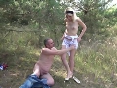 Petite Teen Blonde Hardcore sex in forest with not Stepdad