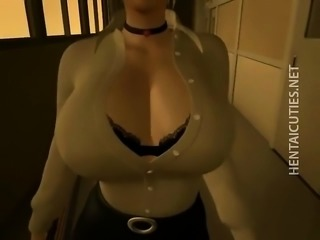 Sexy 3D anime slut suck dick on the knees