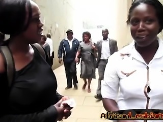 Curvy African lesbians tease each other