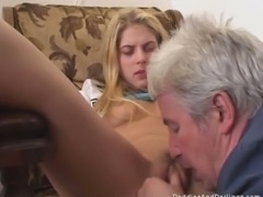 Rita lets an old man eat her pussy, then gives him a blowjob
