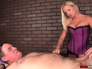 Astonishing blonde with big boobs sensually massages a throbbing dick