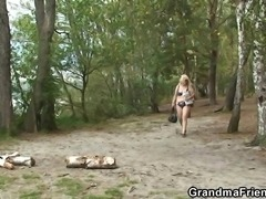 Old grandma and boys teen 3some outdoors