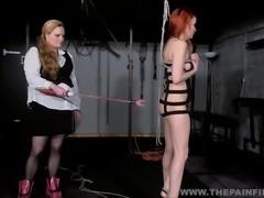 Suspended lesbian whipping and strict lezdom bondage of spanked slave girl...