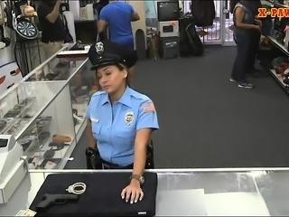 Big ass Latin police officer fucked hard by pervert pawn guy
