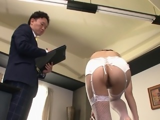 Submissive office girl strips for her boss and gets fucked