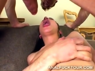 Two hung guys disgrace a blonde beauty with their huge dicks