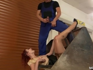 Attractive redhead lady falls in love with the dick of the horny guy