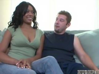 beautiful black girl takes massive white cock!