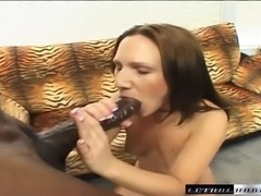 Sexy slim brunette with tiny tits struggles with a massive black dick