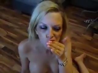 Blonde cum slut gets a facial and eats it afterwards
