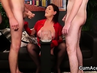 Nasty peach gets cum load on her face eating all the load