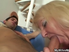 Blonde motherinlaw sucks and rides his big meat