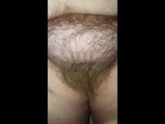 checking out her long hairy pussy pubes & big tits