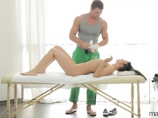 Sexy babe gets a sensual massage which turns into some hot sex