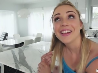 Tasty looking blond GF Cali Sparks sucks her dude off at kitchen