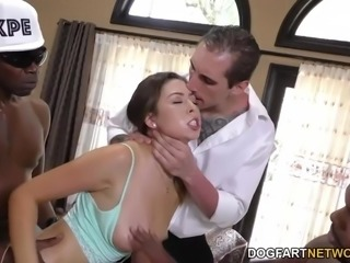Melissa is addicted to black cocks. Her bf Leo sent two of his college...