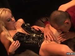 A craving milf wearing only a sexy latex top is eager to play dirty. Click to...