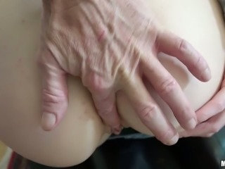Red haired slutty chick in jeans jacket gets her kitty banged in doggy and sideways styles hard