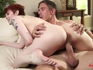 Milky white babe with pretty red hair fucked hardcore