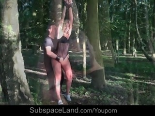 Hardcore drilling for humiliated young slave tied by the tree