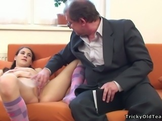 Shy raven haired girlie with pigtails sucks hard cock of her teacher greedily