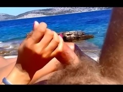 Wife giving handjob on beach PublicFlashing.me