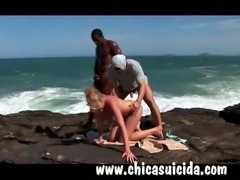 Sizzling hot blonde tourist got DP by Brazilian studs