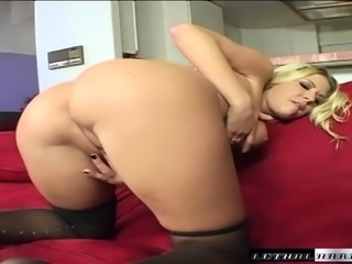 Bodacious blonde nympho worships a big cock and fucks it with passion
