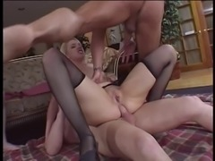 Beautiful slut Olivia Saint with nice big tits gets anal and pussy DP