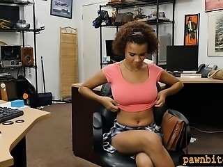 Huge boobs amateur babe gets railed by pervert pawn guy