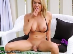 Hot Tranny Jerks her Cock Outside