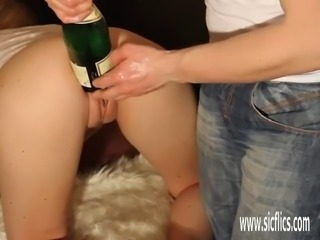 Double fisting his girlfriends giant gaping pussy