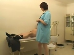 Slutty redhead doctor peels off her clothes and delivers a hot blowjob