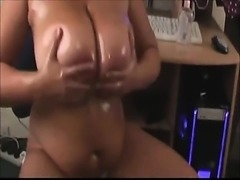 She uses oil on her huge natural boobs